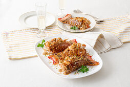 Gratinated lobster with spicy Parmesan sauce