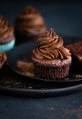 A vegan chocolate cupcake