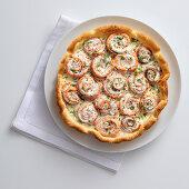 Fish roll quiche with dill cream cheese and ricotta cream