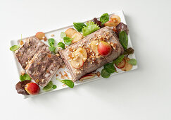 Chicken liver terrine with caramelised pears