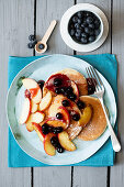 Scotch Pancakes with Buttered Apples and Blueberry Sauce