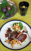 Duck breast with gratinated almond and honey figs