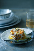 Warm mackerel ceviche with melon