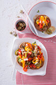 Bread salad with peppers and olives