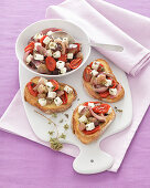 Crostini with a sweet-and-sour aubergine salad
