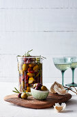 Marinated olives with garlic and herbs