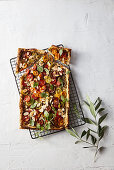 Tomato and green olive tapenade tart with anchovies