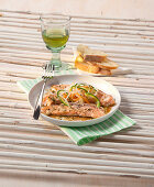 Steamed salmon with vegetables and Worcester sauce