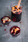 Pomegranate Sangria with Kiwi and Orange