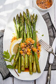 Green asparagus with passion fruit vinaigrette