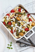 Asparagus roasted vegetables with feta