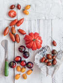An arrangement of various tomatoes