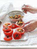 Stuffing tomatoes