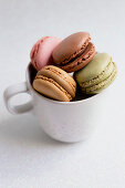Bowl of macaroons on table