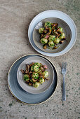 Rice gnocchi with mushrooms and herb butter