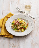 Pennette with savoy cabbage, potatoes and bacon