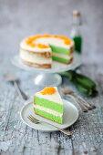 Pandan cake with Foi Thong (Thailand)