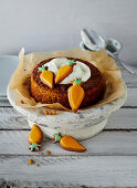 Easter mini-carrot cake decorated with carrot-shaped cookies
