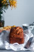 Homemade lemon and poppy seeds sponge cake