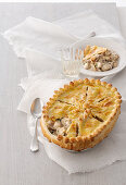 Chicken pie with mushrooms and Soubise sauce