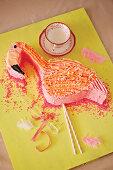 Flamingo shaped birthday cake