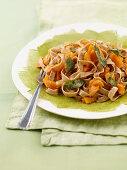 Spelt tagliatelle with pumpkin, nutmeg and fried sage