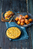 Pumpkin and onion gratin, sweet pumpkin balls and pumpkin risotto with rosemary