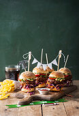 Burgers with chips for a Super Bowl party