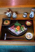 A sashimi platter in 'Matsumi', a Japanese restaurant in Hamburg