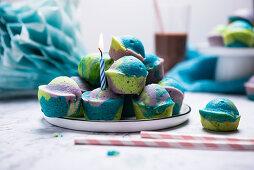 Tri-coloured mini vegan muffins