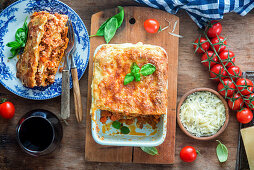 Lasagna with minced meat and tomato sauce