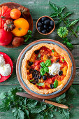 Tomato pie with savory sour cream ice cream
