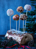 Candied apples with coconut flakes and nuts