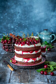 Chocolate cherry cake with mascarpone