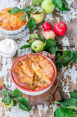 Apple cake with liquid batter