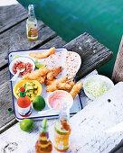 Esenada fish tacos with chilli and coriander