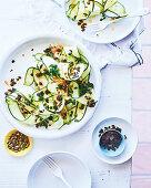 Zucchini, caper and dried seaweed salad