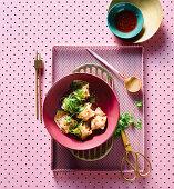 Leftover prawn and ham dumplings