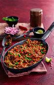 Keema matar (minced meat and pea curry, India)