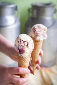 Fruit ice cream in cones