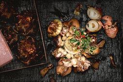Thick black Sicilian onions and artichokes