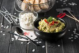 Guacamole and cottage cheese for a New Year's Eve buffet