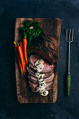 Sliced Roast Beef with Peppercorn Sauce