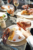 Lobster with grilled corn on the cob