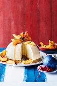 Peach and tahini cheesecake