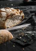Homemade bread, sliced