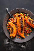Stuffed pointed peppers with a tomato and lentil vinaigrette