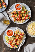 Skewers with veggies and halloumi cheese, cocucous and ajvar