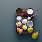 Ingredients for pear muffins