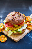 Chickpea burger with sweet potato chips